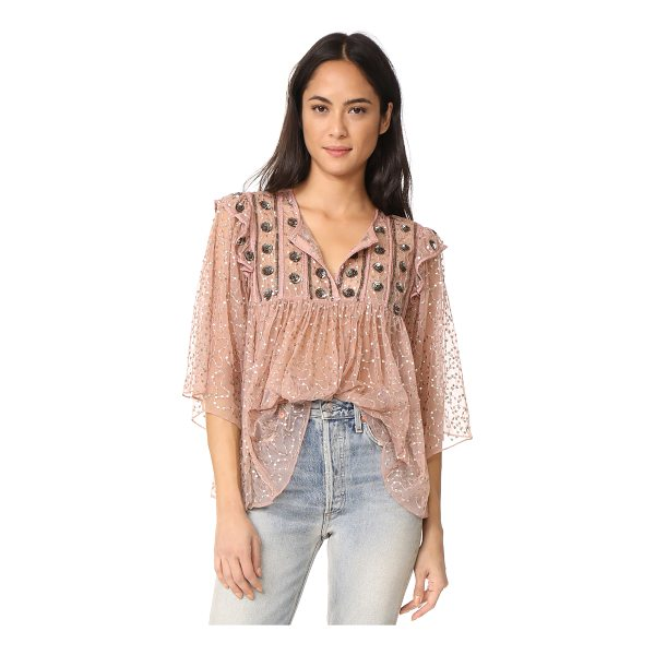ANTIK BATIK pati embroidered blouse - Embroidery and tiny sequins detail this delicate mesh Antik...