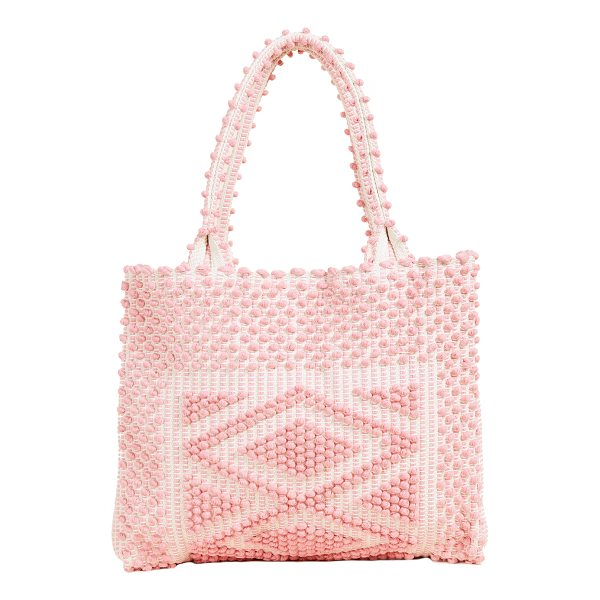 ANTONELLO liscia rombi tote - Small pom poms arranged in geometric patterns cover this...
