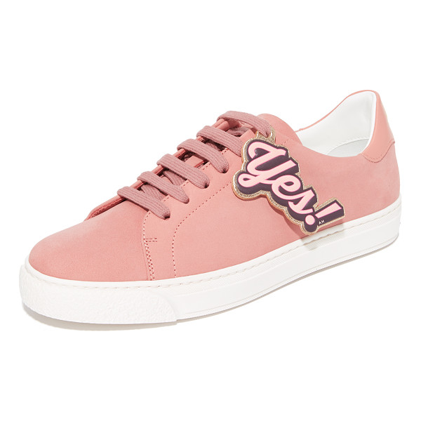 ANYA HINDMARCH tennis shoe wink sneakers - A winking emoji and 'Yes!' lettering add a playful feel to...