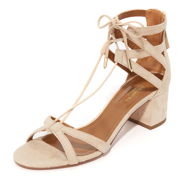 AQUAZZURA beverly hills sandals - Slim, crisscross straps compose these suede Aquazzura