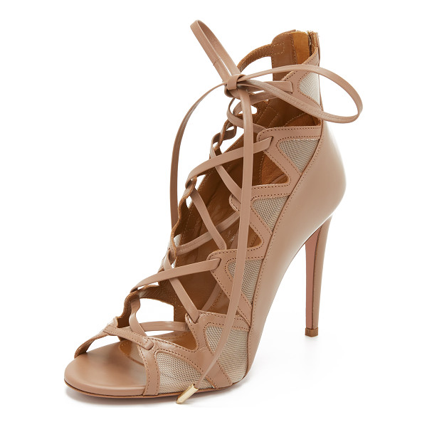 AQUAZZURA French lover sandals - Sleek leather and sheer mesh compose these striking