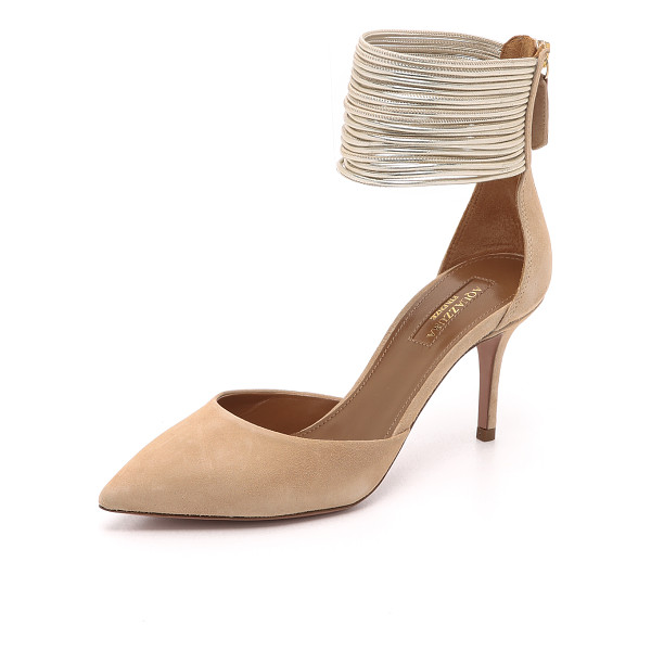 AQUAZZURA hello lover pumps - Slender, metallic leather straps form a wide cuff on these...