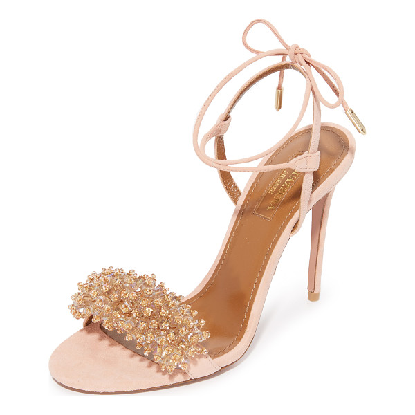 AQUAZZURA Monaco sandals - Iridescent crystals and tiny metallic beads accent the vamp...