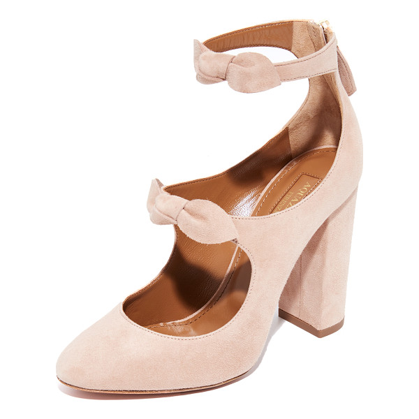 AQUAZZURA sandy 105 pumps - Soft, knotted bows detail the scalloped top line on these...