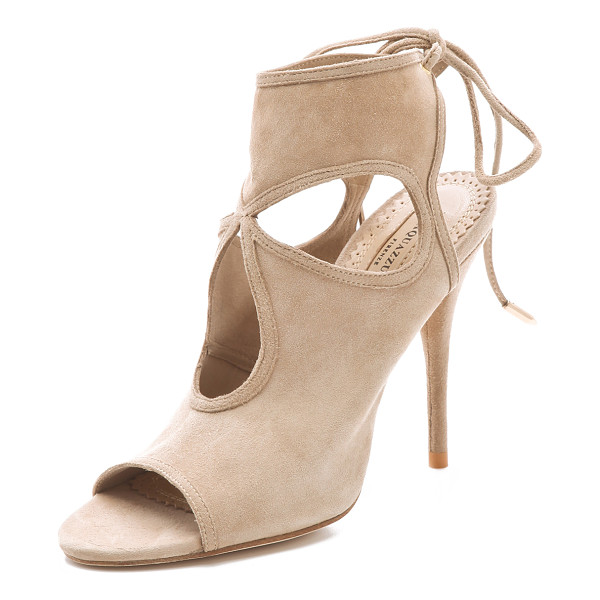 AQUAZZURA sexy thing cutout booties - A cloverleaf cutout gives these soft suede Aquazzura