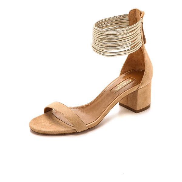 AQUAZZURA Spin me around sandals - A cluster of slender, metallic leather straps form a wide...