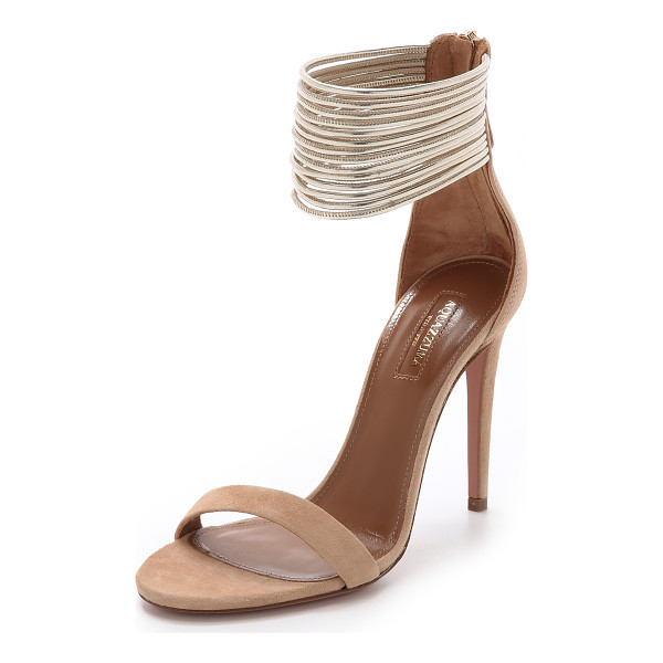 AQUAZZURA Spin me around sandals - Skinny metallic strands form a wide ankle cuff on these...
