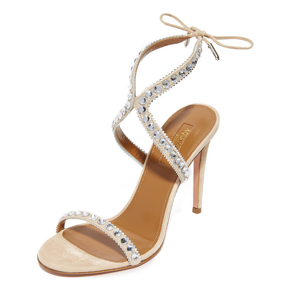 AQUAZZURA sweet lover 105 sandals - Rhinestones and metallic zigzag trim accent the slender,...