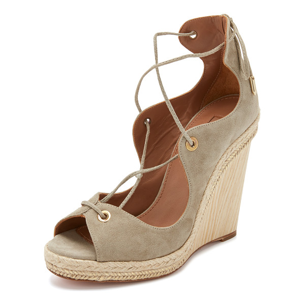 AQUAZZURA Tango wedge espadrilles - Metallic coated raffia trims the wooden wedge heel of these