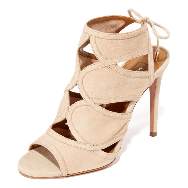 AQUAZZURA vika sandals - Curved seams form small cutouts on these suede Aquazzura...