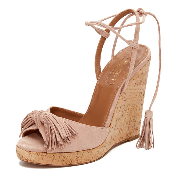 AQUAZZURA Wild one wedge espadrilles - Suede Aquazzura sandals updated with a tassels at the slim
