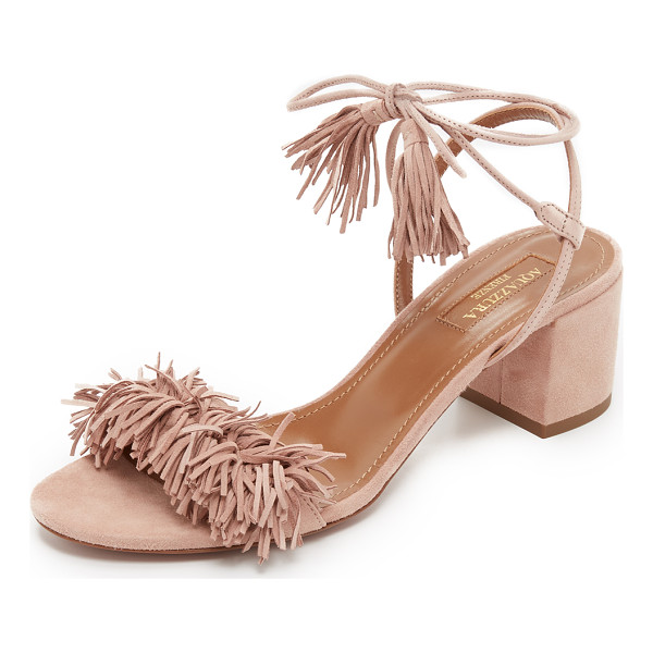AQUAZZURA Wild thing city sandals - Suede Aquazzura sandals updated with a bold fringed vamp....