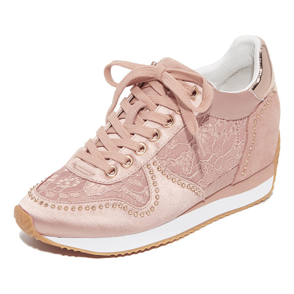 ASH blush wedge sneakers - Feminine Ash wedge sneakers, composed of satin and lace,