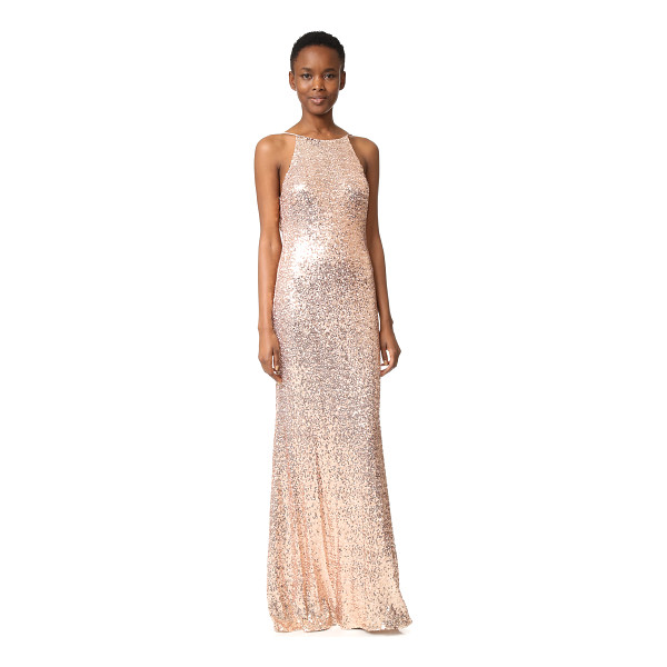 BADGLEY MISCHKA COLLECTION cowl back sequin gown - Mirrored sequins give this Badgley Mischka Collection gown...