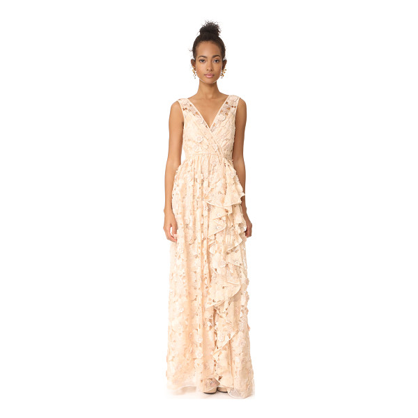BADGLEY MISCHKA COLLECTION cutout organza ruffle v neck gown - Embroidery and cutwork designs create a lace-like effect on...