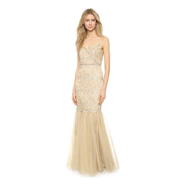 BADGLEY MISCHKA COLLECTION Gold cord lace gown - This airy tulle Badgley Mischka Collection gown is...