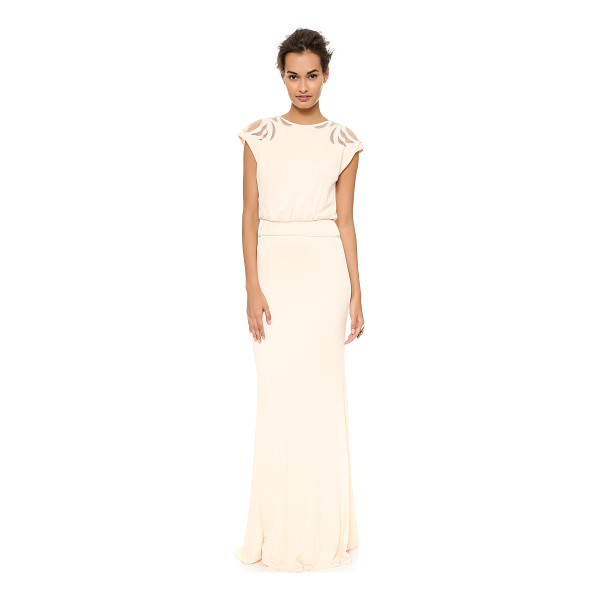 BADGLEY MISCHKA COLLECTION Keyhole gown - This Badgley Mischka Collection gown has sheer mesh insets...