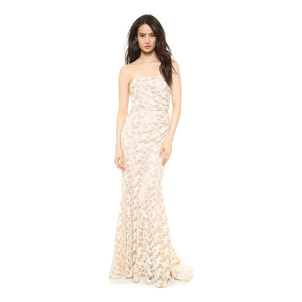 BADGLEY MISCHKA COLLECTION Lace side pleated gown - Intricate, two tone floral lace brings a charming element...