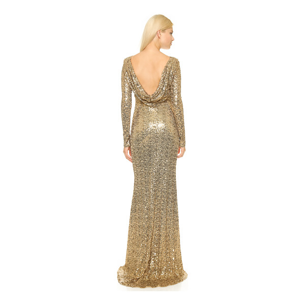 BADGLEY MISCHKA COLLECTION Long sleeve sequin gown - Allover sequins lend sparkle to this dramatic Badgley...