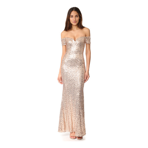 BADGLEY MISCHKA COLLECTION off shoulder sequin gown - Spangled sequins lend timeless glamour to this off-shoulder...