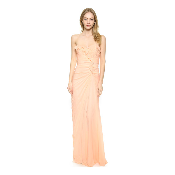 BADGLEY MISCHKA COLLECTION Strapless ruffle gown - A curved seam cuts a dramatic line on this Badgley Mischka...