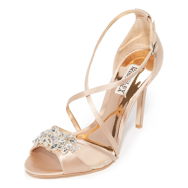 BADGLEY MISCHKA gala sandals - Pale satin Badgley Mischka sandals with brilliant,...
