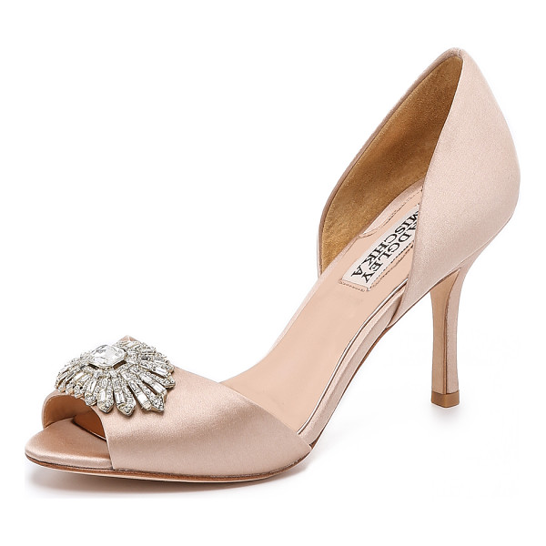 BADGLEY MISCHKA Jazmin peep toe dorsay pumps - Satin Badgley Mischka pumps in a ladylike d'orsay profile.