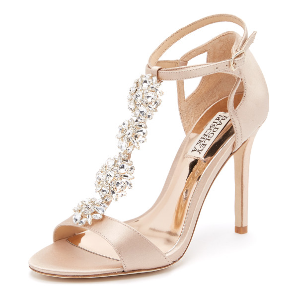 BADGLEY MISCHKA Leigh sandals - Shimmering crystals accent the T strap on these glamorous...