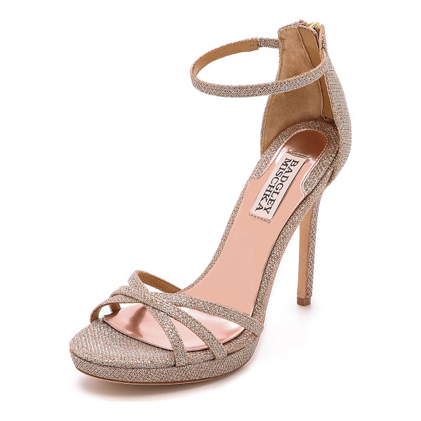 BADGLEY MISCHKA Badgley Mischka Signify Sandals - Delicate, scale textured mesh details these lustrous lamé