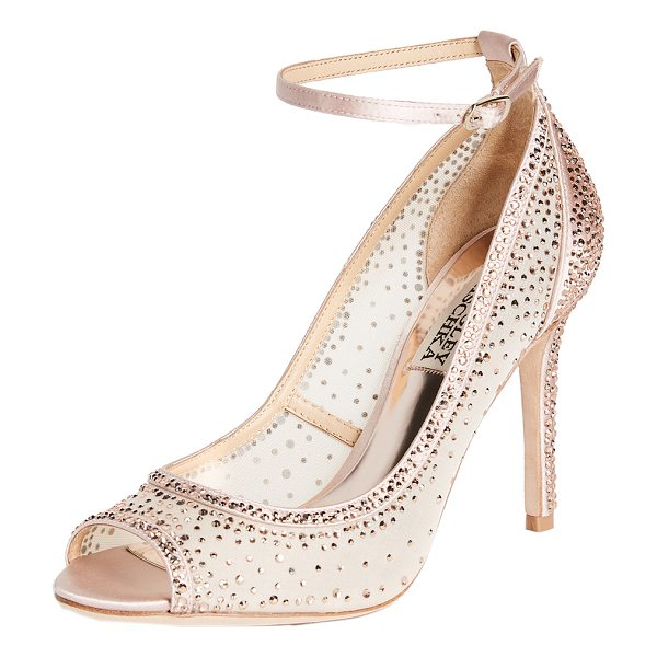 BADGLEY MISCHKA weylin open toe pumps - Opulent Badgley Mischka pumps in semi-sheer satin, covered...