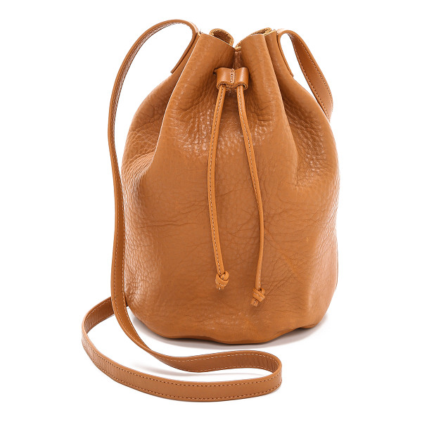 BAGGU drawstring bucket bag - A minimalist Baggu handbag. The wrinkled leather is