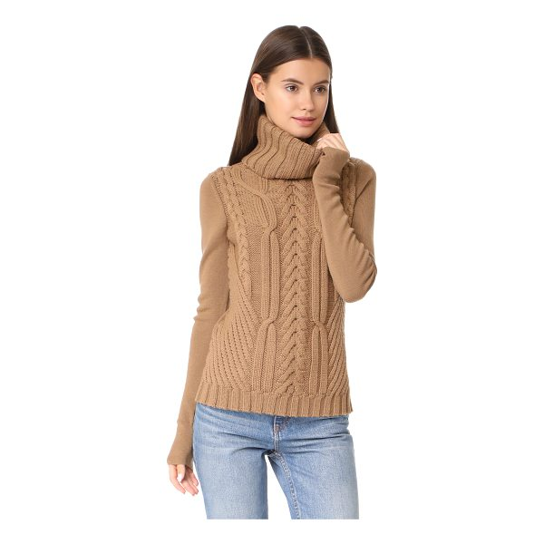 BARBARA BUI cable knit turtleneck - This mixed-texture Barbara Bui turtleneck sweater has bold...