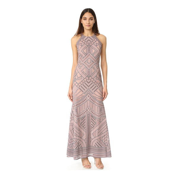 BCBGMAXAZRIA mesh inset gown - A fused pattern brings bold detail to this airy mesh...