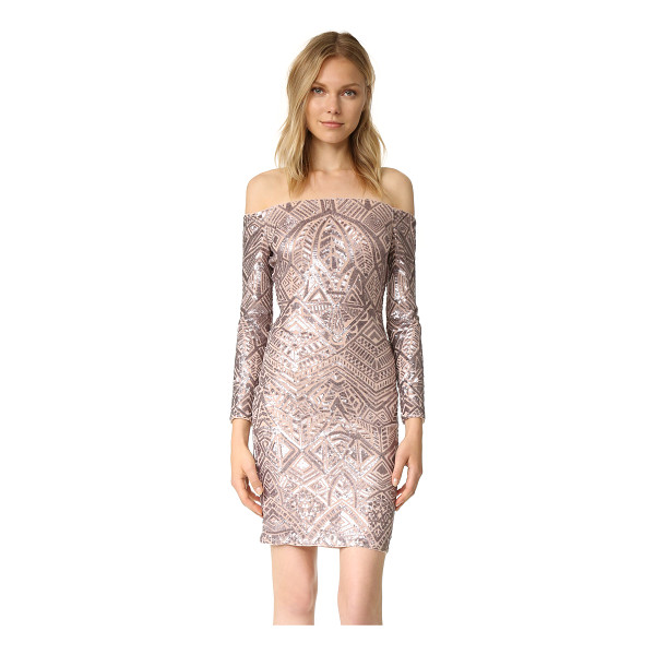 BCBGMAXAZRIA embellished off shoulder dress - A sequined design lends low-key luster to this formfitting...