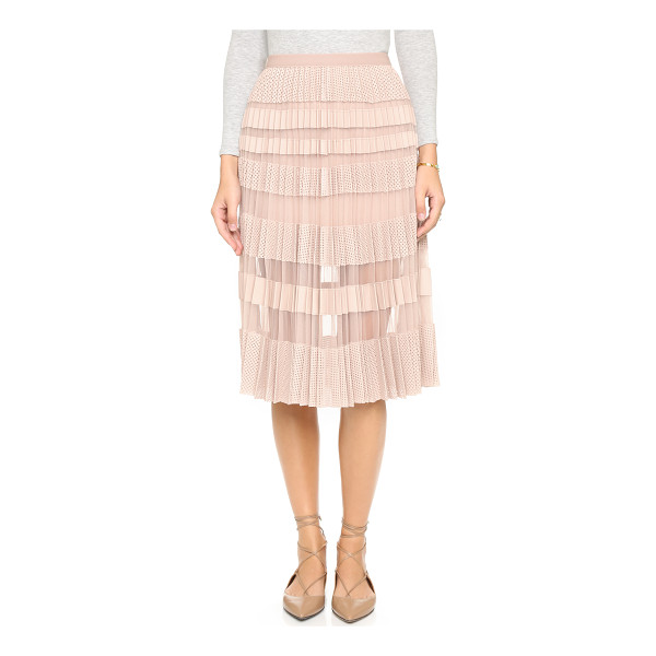 BCBGMAXAZRIA Taura pleated skirt - Laser cut faux leather stripes add texture and weight to a...