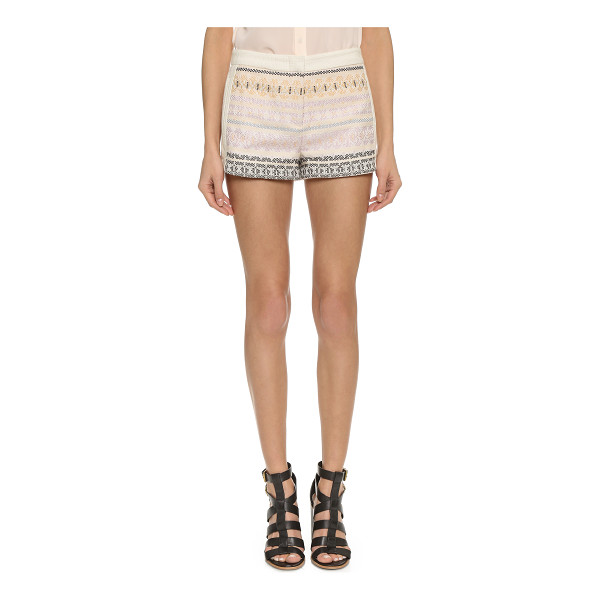 BCBGMAXAZRIA Trey shorts - Colorful stripes lend an eclectic touch to basket weave...