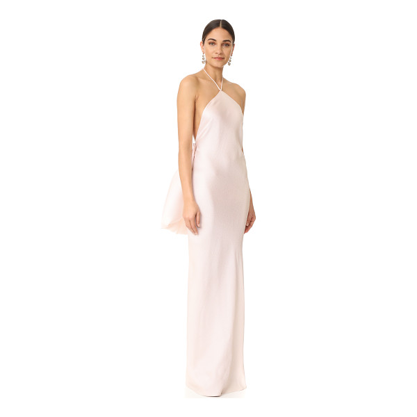 BRANDON MAXWELL halter gown - An optional, pleated silk overlay brings striking volume to...