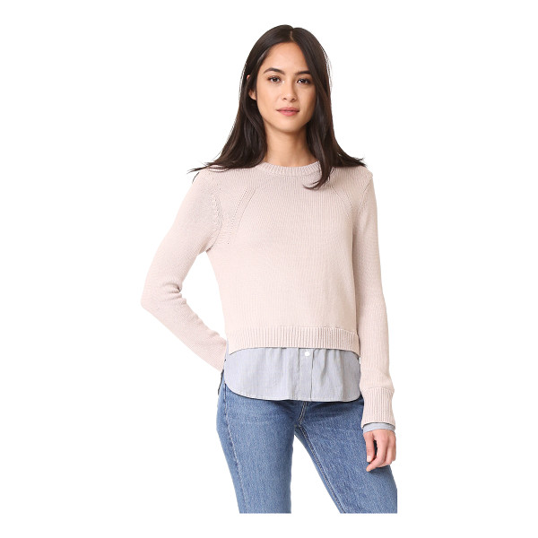 BROCHU WALKER anton layered pullover - Striped, woven trim at the cuffs and hem lend a layered...