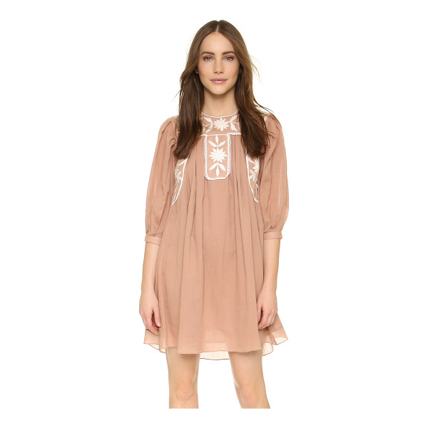 CAROLINA K embroidered dress - Exclusive to Shopbop. Contrast embroidery and scalloped...