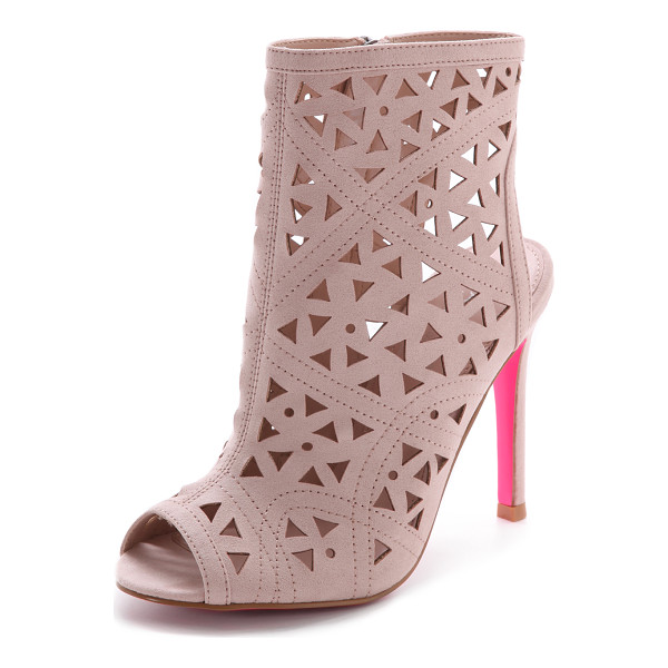 CARVELA KURT GEIGER Gabby perforated booties - A geometric pattern of laser cut perforations adds graphic...