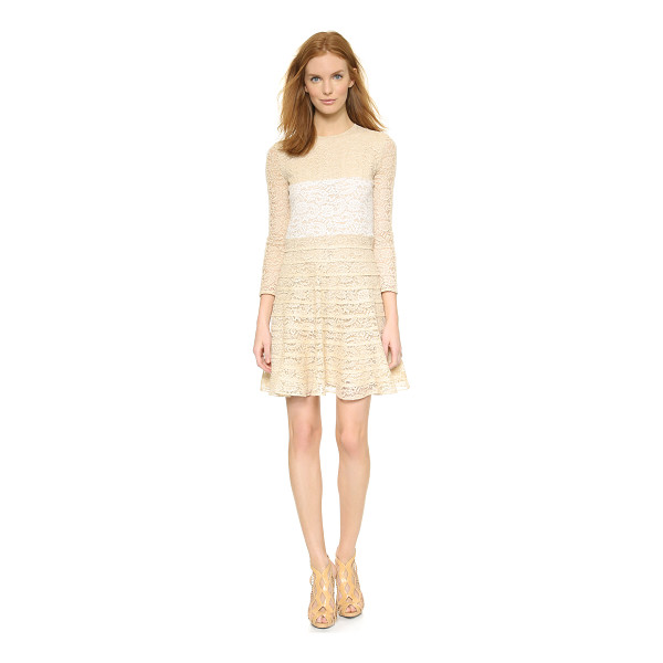CARVEN Long sleeve lace dress - Contrast panels cut clean lines over the bodice and sleeves...