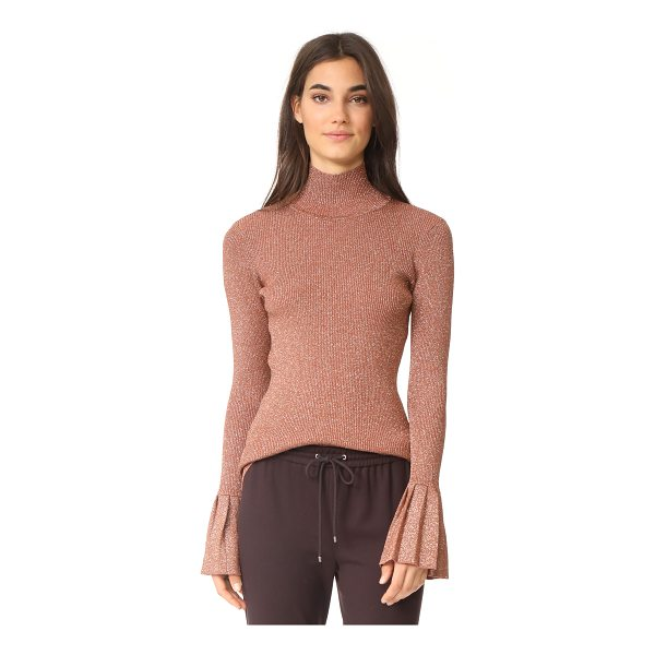 CARVEN metallic sweater with pleats - This curve-hugging Carven turtleneck sweater sparkles with...