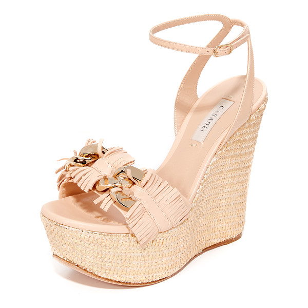 CASADEI jeweled wedge sandals - Suede Casadei platform sandals with a woven metallic wedge.