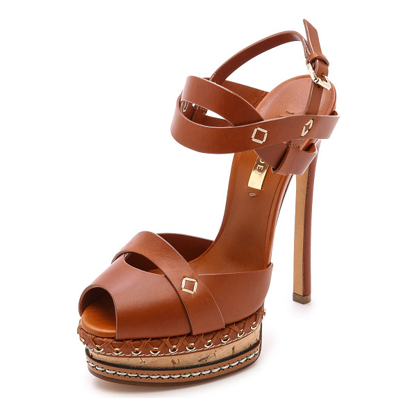 CASADEI Leather & cork heels - Rich leather and intricate platform detailing put an...