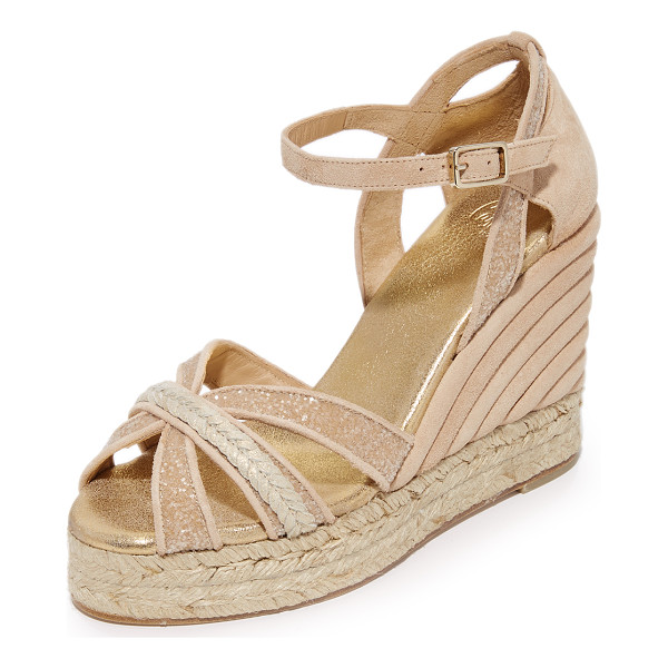 CASTANER wedding sparkle crisscross wedge espadrilles - Metallic accents and sparkling glitter lend a sophisticated...