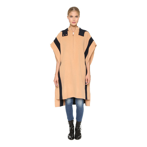 CEDRIC CHARLIER Oversized cape - A cozy two tone Cedric Charlier poncho with signature rose...