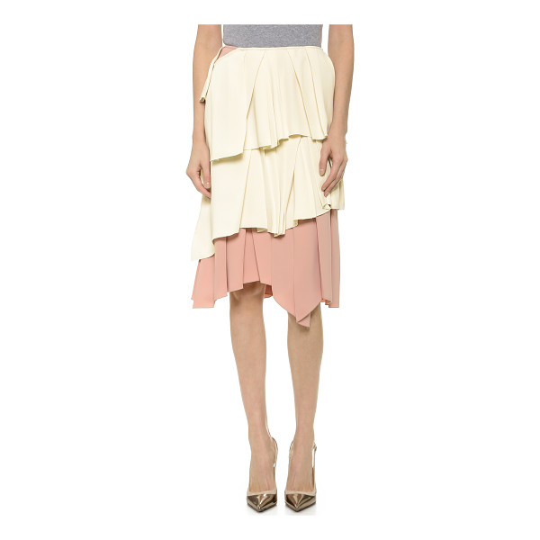 CEDRIC CHARLIER Ruffle skirt - Scattered pleats add movement and texture to tiered ruffles...