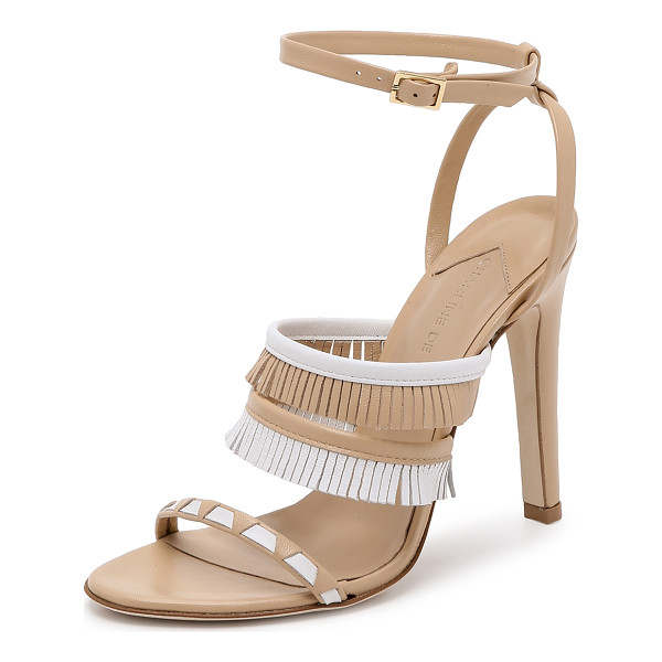 CHARLINE DE LUCA Swaihili sandals - Two tone leather and fringed straps give these Charline De