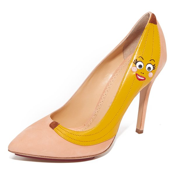 CHARLOTTE OLYMPIA banana pumps - A googly-eyed banana adds a playful charm to these suede...
