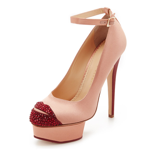 CHARLOTTE OLYMPIA Kiss me dolores pumps - Rhinestone lips accent the toe on these glamorous, two tone...
